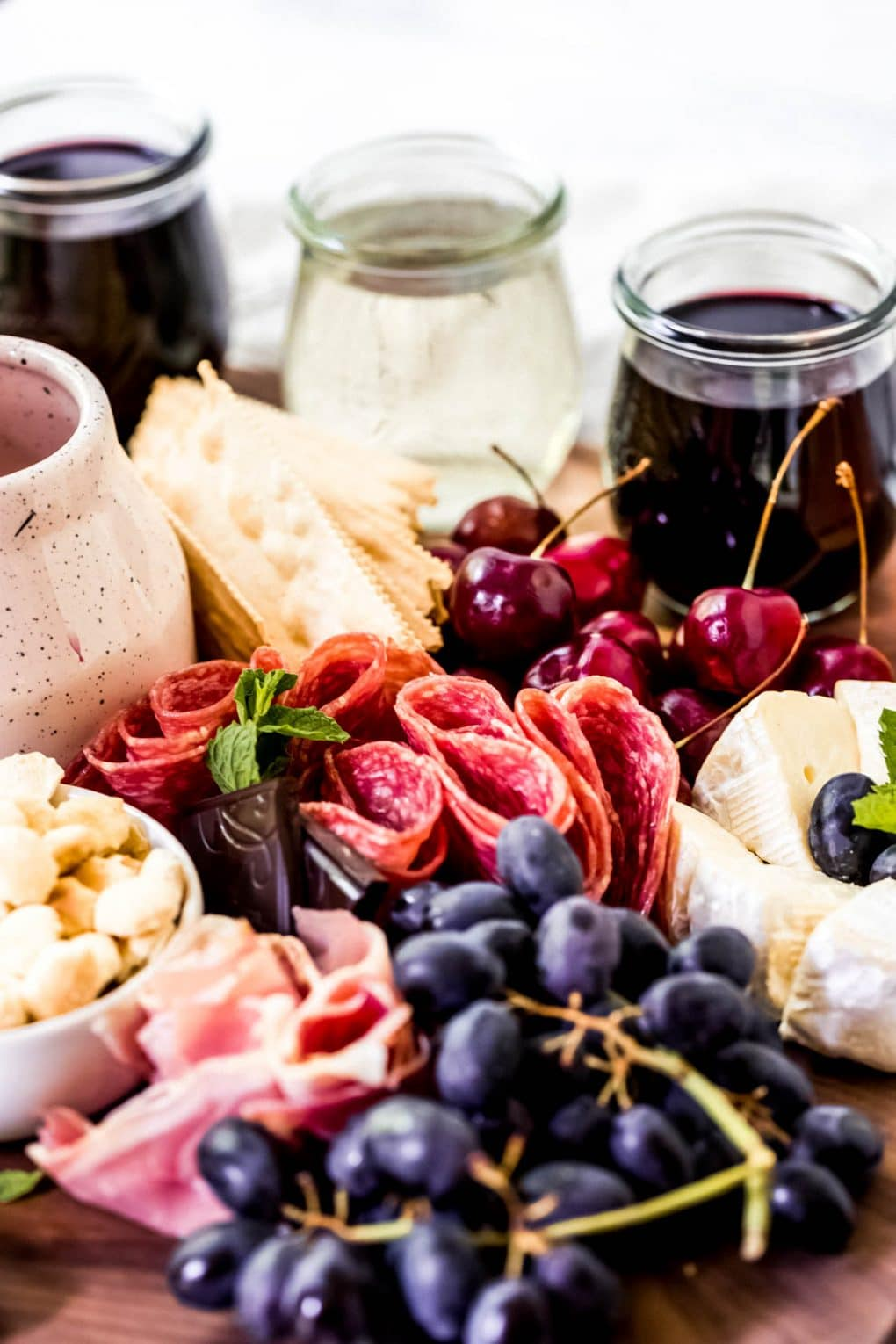 ingredients to make a wine tasting charcuterie board