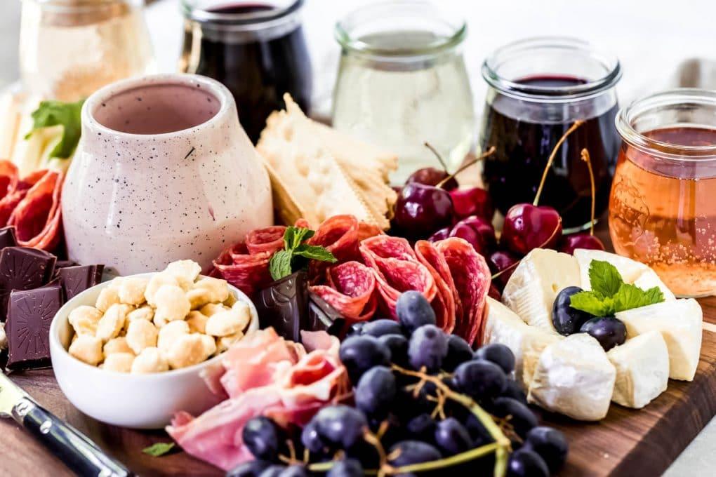 a wine tasting charcuterie board