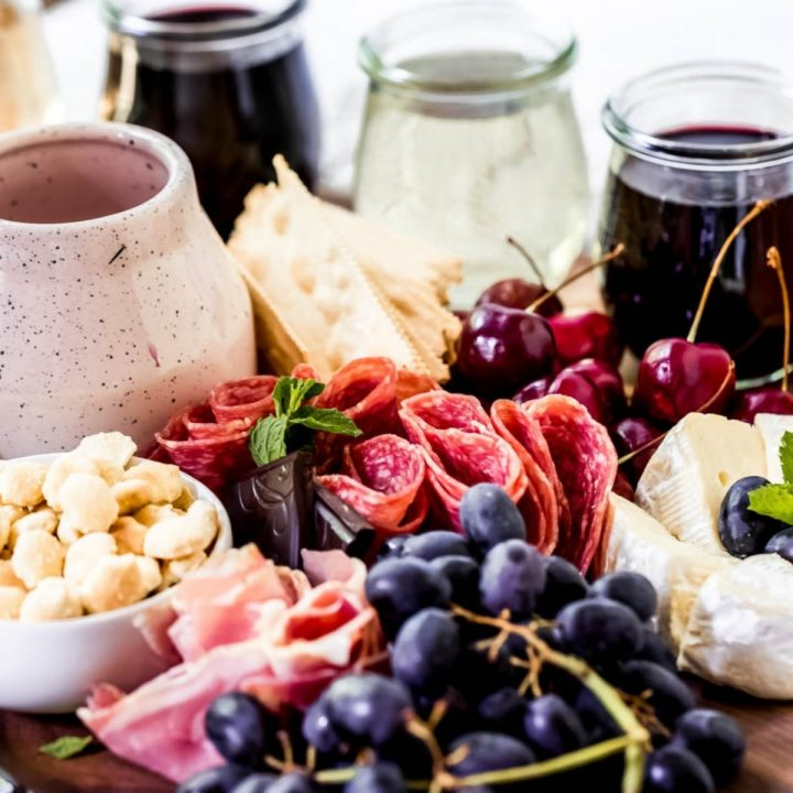 ingredients for a wine tasting charcuterie board